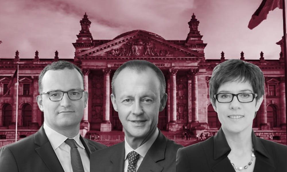 Jens Spahn, Friedrich Merz y Annegret Kramp-Karrenbauer