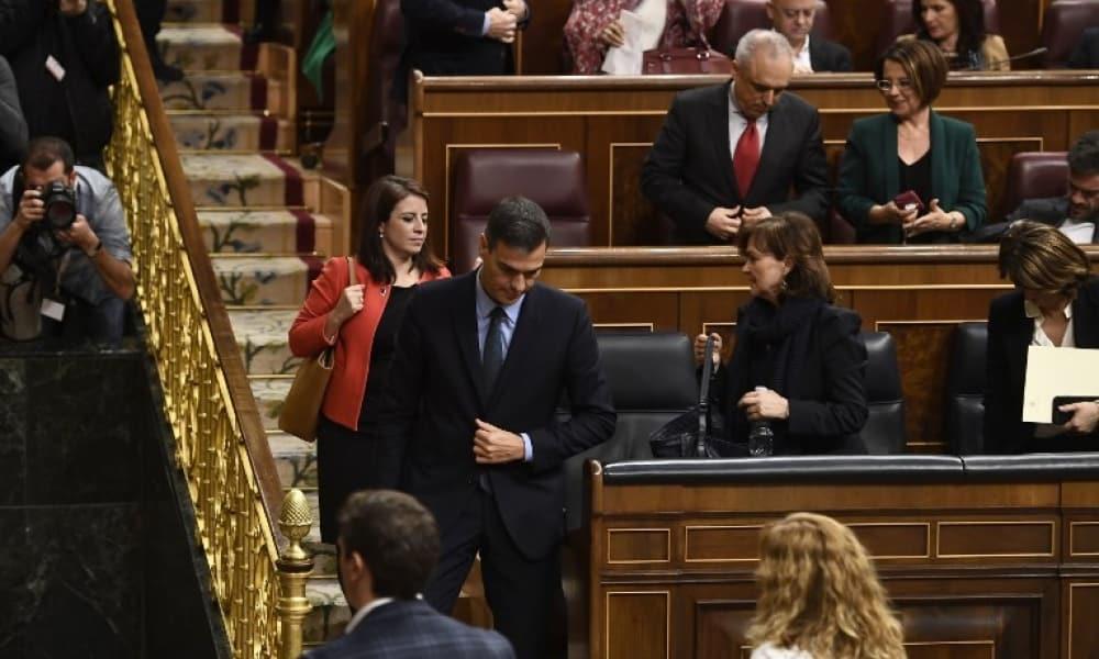 Pedro Sánchez tras la votación en el Congreso