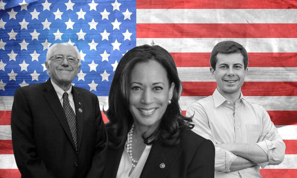 Bernie Sanders, Kamala Harris y Pete Buttigieg