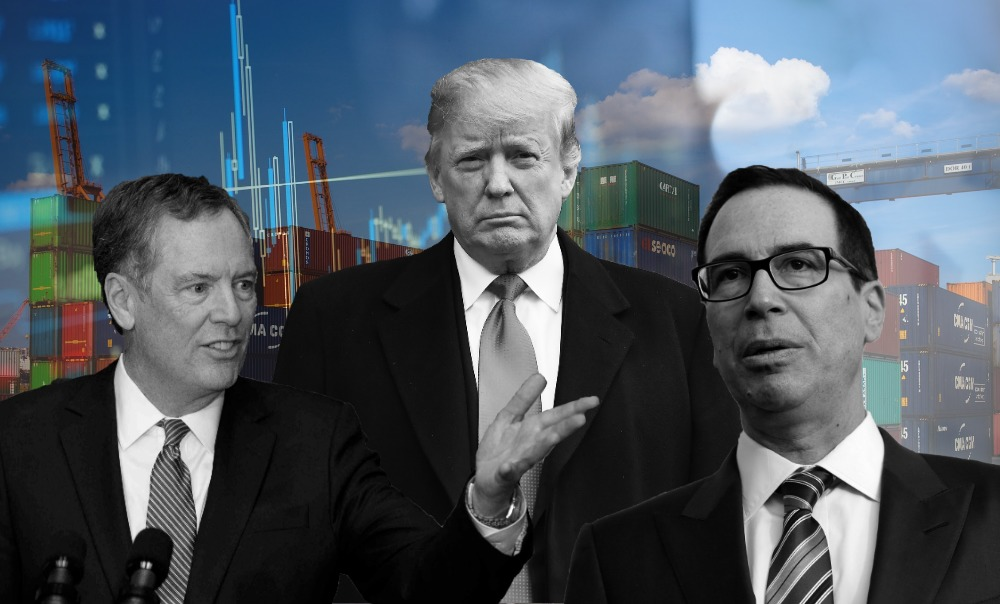 Robert Lighthizer, Donald Trump y Steve Mnuchin