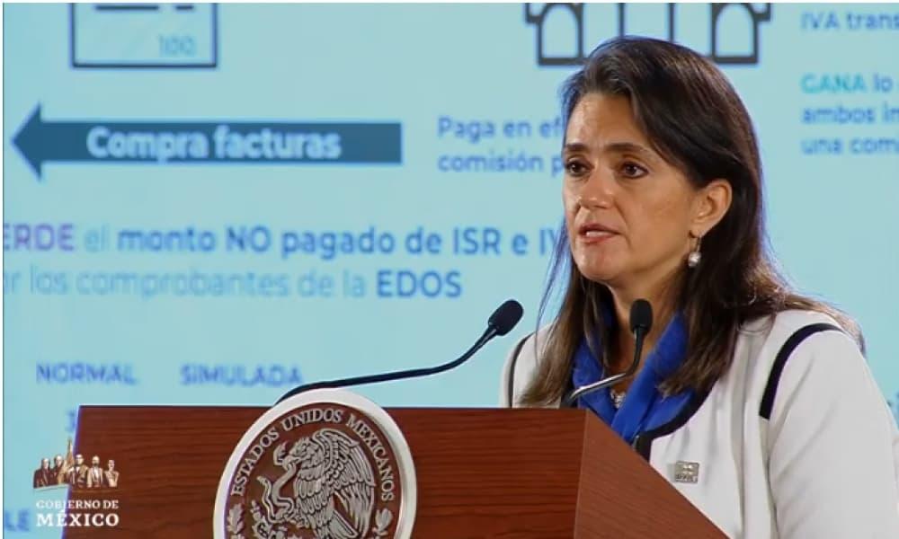 Margarita Ríos-Farjat, titular del SAT, explica el problema de evasión con facturas falsas.